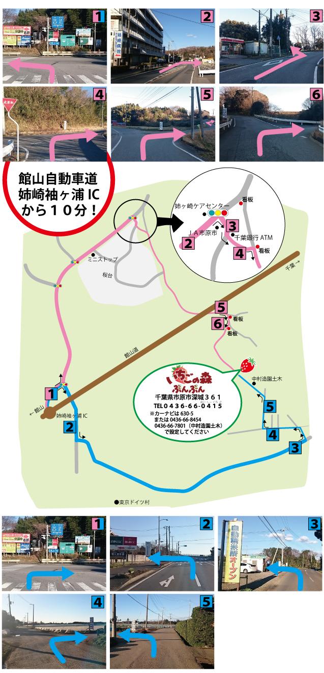 千葉 市原 いちご狩り 苺 イチゴ いちごの森ぶんぶん アクンセス 地図
